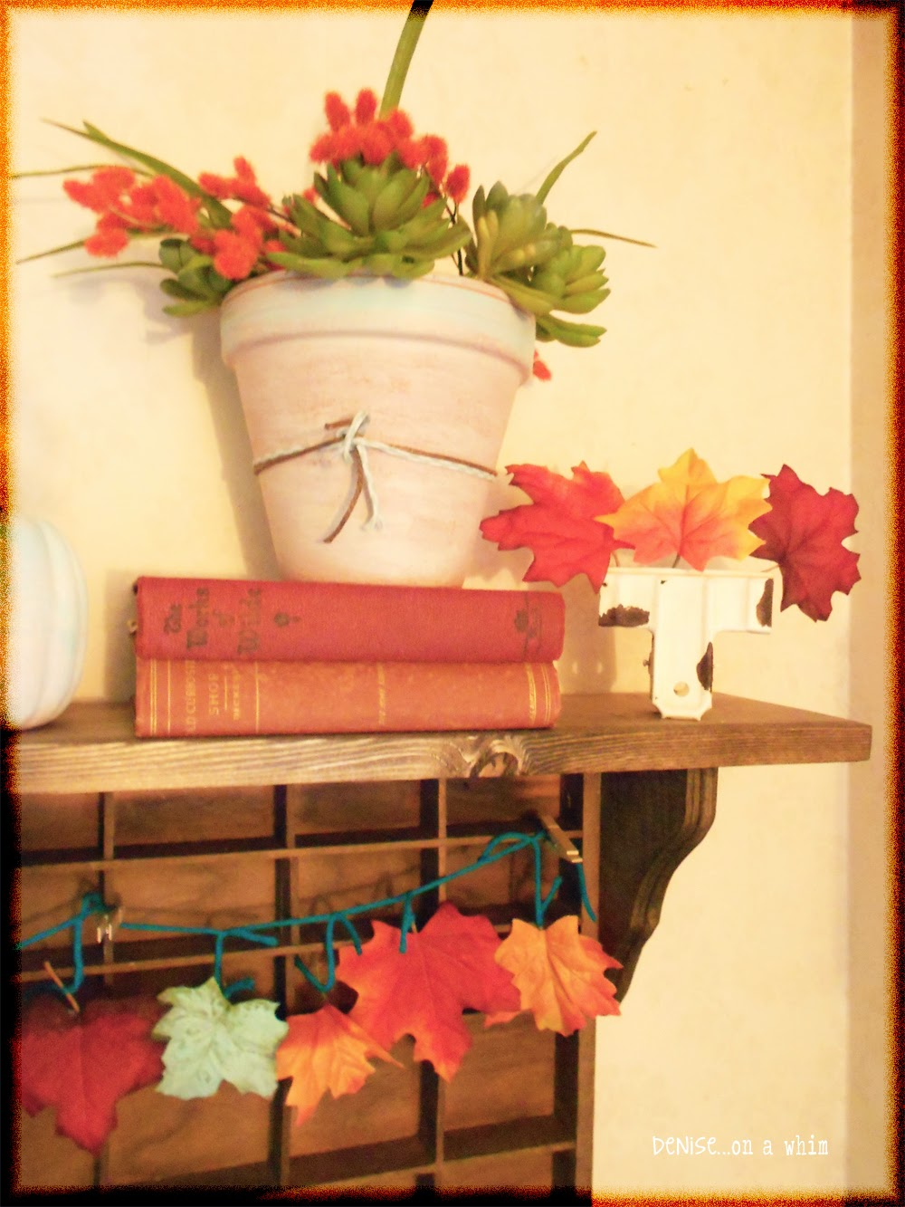 Old Books and Pretty Flowers in a Fall Vignette from Denise on a Whim