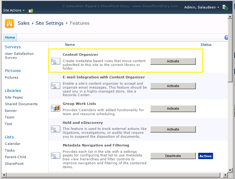 sharepoint send to feature