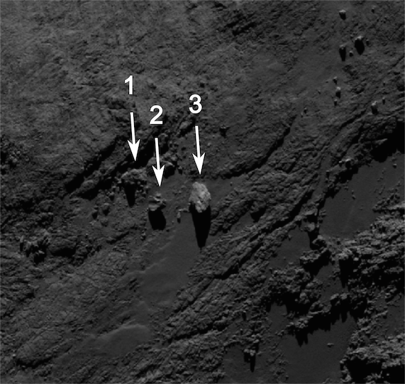 Image of the boulders taken by OSIRIS on 19 September 2014 from a distance of about of 29 km. The image scale at this distance is about 0.5m/pixel and the image measures about 285 m across. Boulder 3 measures approximately 30 m across. Credits: ESA/Rosetta/MPS for OSIRIS Team MPS/UPD/LAM/IAA/SSO/INTA/UPM/DASP/IDA