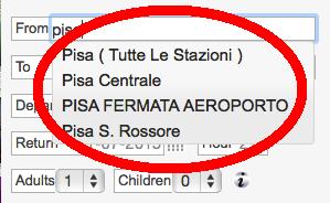 Tampilan web Trenitalia: pilihan stasiun dalam 1 kota
