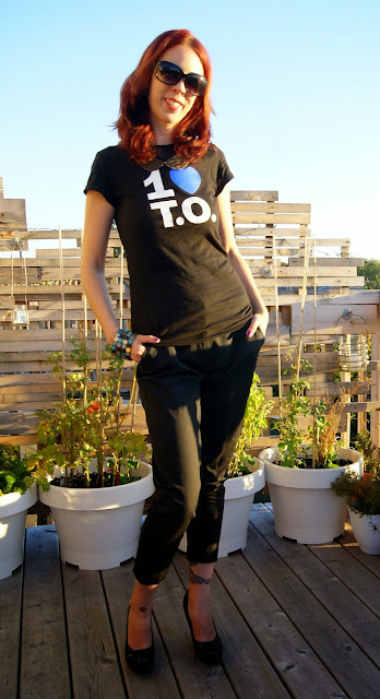 My Style: 1 Love T.O. T-shirt, Altuzarra for Target Tuxedo Pants, Jessica Shoes, Shop For Jayu Necklace, fashion, styletips, toronto, canadian, ontario, canada, love toronto, the purple scarf, melanie.ps, outfit, ootd, heart