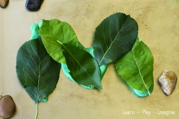 Learning letters with playdough and leaves