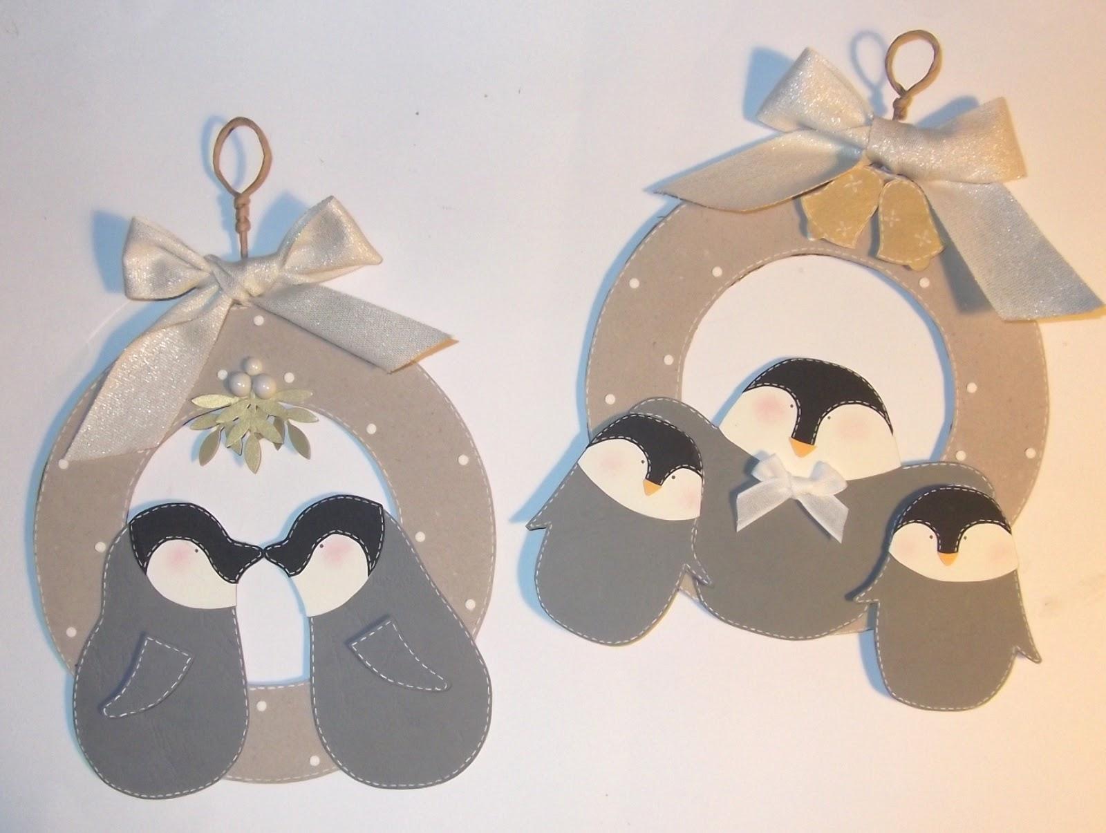 Cartoncino mio ghirlanda in cartone con pinguini
