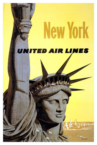 classic posters, free download, graphic design, retro prints, travel, travel posters, vintage, vintage posters, New York, United Air Line - Vintage Travel Poster