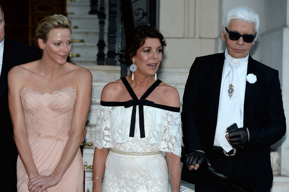 Antoine Arnault, Natalia Vodianova, Prince Albert II of Monaco, Princess Charlene of Monaco, Princess Caroline of Hanover and Karl Lagerfeld arrive at 'Love Ball' hosted by Natalia Vodianova in support of The Naked Heart Foundation at Opera Garnier