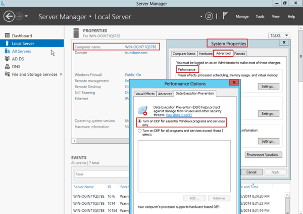 adjust windows server 2012 to optimize performance