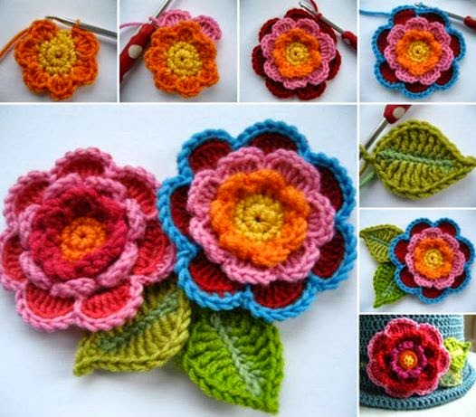 Très Tutorial Crochet: Tutorial Crochet: fiori decorativi all'uncinetto  GM83