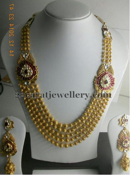 Gold Beads Sets With Motifs Jewellery Designs