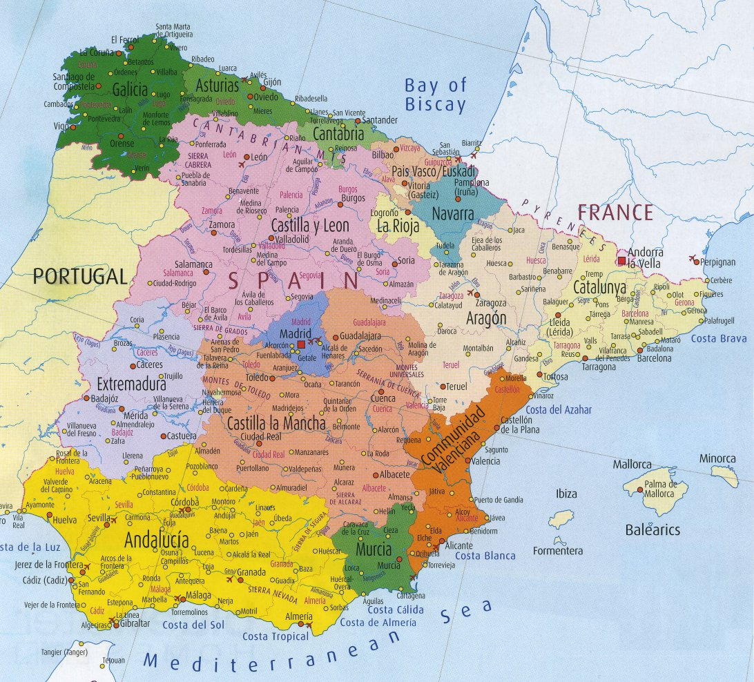 Map of Spain Region Political Map of Spain Tourism Region and Topography