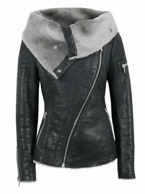 arnelle black leather biker jacket