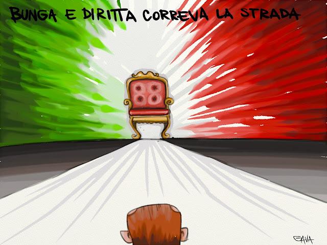 gava gavavenezia satira vignette illustrazioni poltrona berlusconi governo tricolore rosso bianco verde inciucio