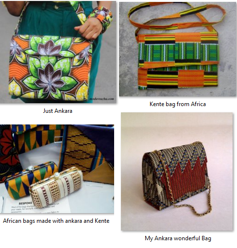 African bags made from Ankara and Kente