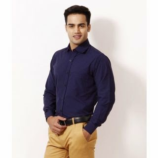Shopclues : Buy Hawk Navy Full Formals Solids Shirt at Rs. 269 only