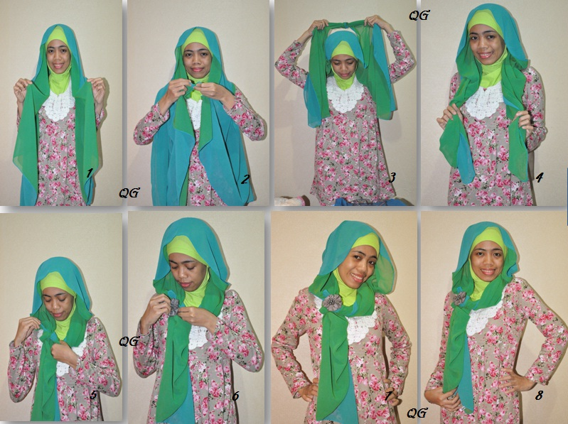 Qorira Gallery: tutorial hijab tanpa jarum pentul - long hair style