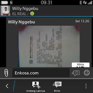 Bukti pembayaran jersey Willy Nggebu di enkosa sport