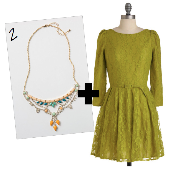 statement necklace. lace dress, bright outfit, holiday party dress