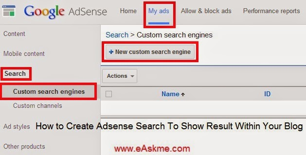 How to Create Adsense Search To Show Result Within Your Blog : eAskme