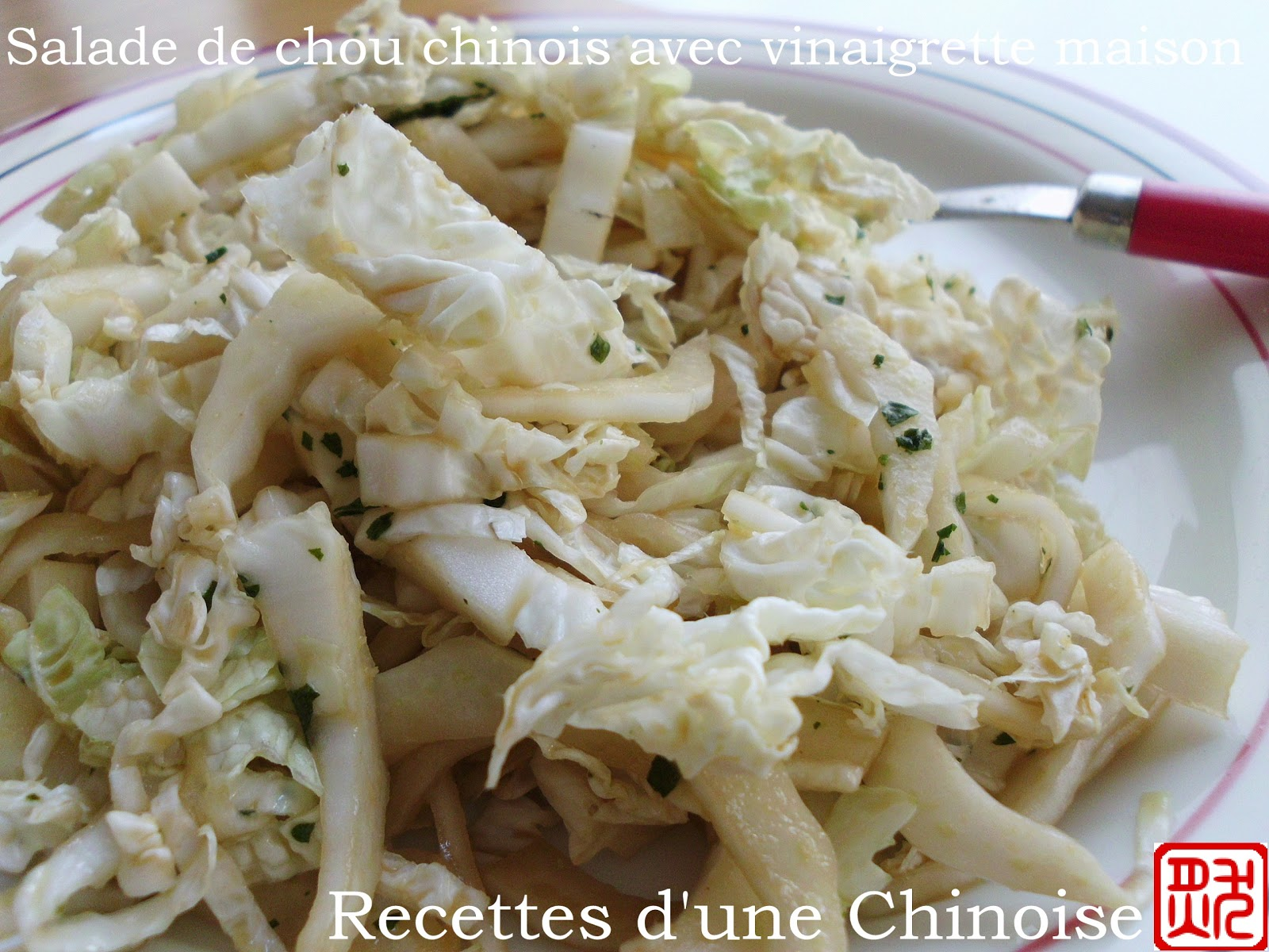recettes d 39 une chinoise salade de chou chinois p tsa avec la vinaigrette maison. Black Bedroom Furniture Sets. Home Design Ideas