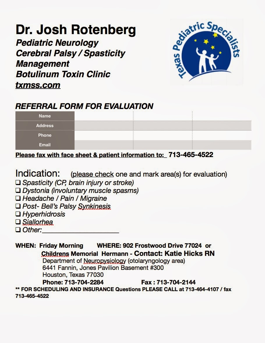 Cerebral Palsy Clinic Referral Form