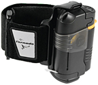 Tornado armband conveniently carries pepper spray, strobe light and a 125 dB alarm.