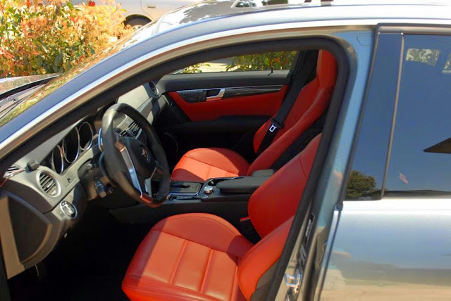 mercedes red leather