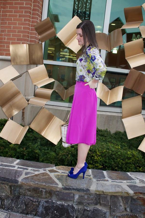 Floral, purple, J.Crew skirt, midi skirt, floral top, Zara top, coach bag, blue heels, Nine West heels, cobalt blue