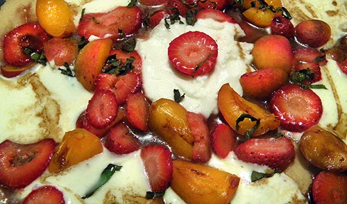 Pizza with Mozzarella, Ricotta, Strawberries, and Apricots