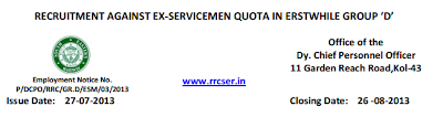 www.rrcser.in - RRC Kolkata Railway Recruitment 2013