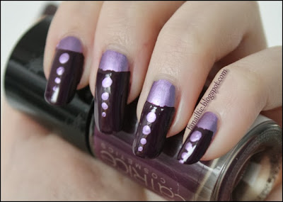 "half moon manicure feat. kiko mirror 621 ""violet"" & Catrice thrilling me softly LE ""occult"""