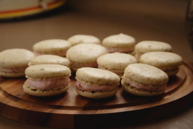 Pistachio and Raspberry Macarons