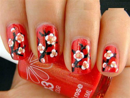 Beautiful Chinese New Year Nail Art Design
