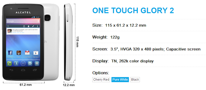 Alcatel One Touch Glory 2 Technical Specifications