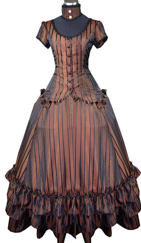 Vintage Brown Striped Steampunk Dress