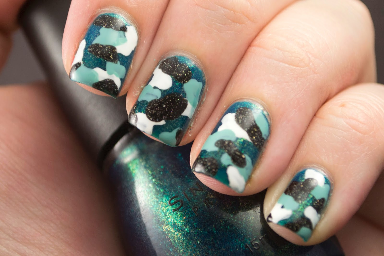 camouflage, nails, nail polish, nail art, polish, blue, turquoise, black, white, nail art a go go, hey darling polish