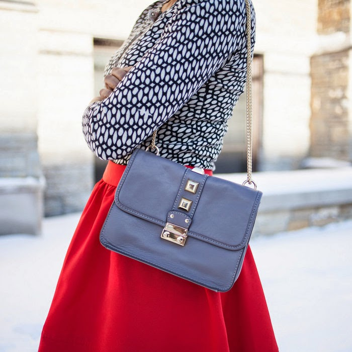 red skirt and black top, express red skirt, full skirt, valentino rockstud bag, saks leather bag, minneapolis fashion blogger, how to dress cute in winter, winter outfit ideas