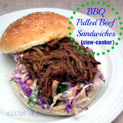 With A Blast: BBQ Pulled Beef Sandwiches {slow-cooker}   ---- favorite among all !    #sandwich #pulledbeef #slowcooker #coleslaw #bbq