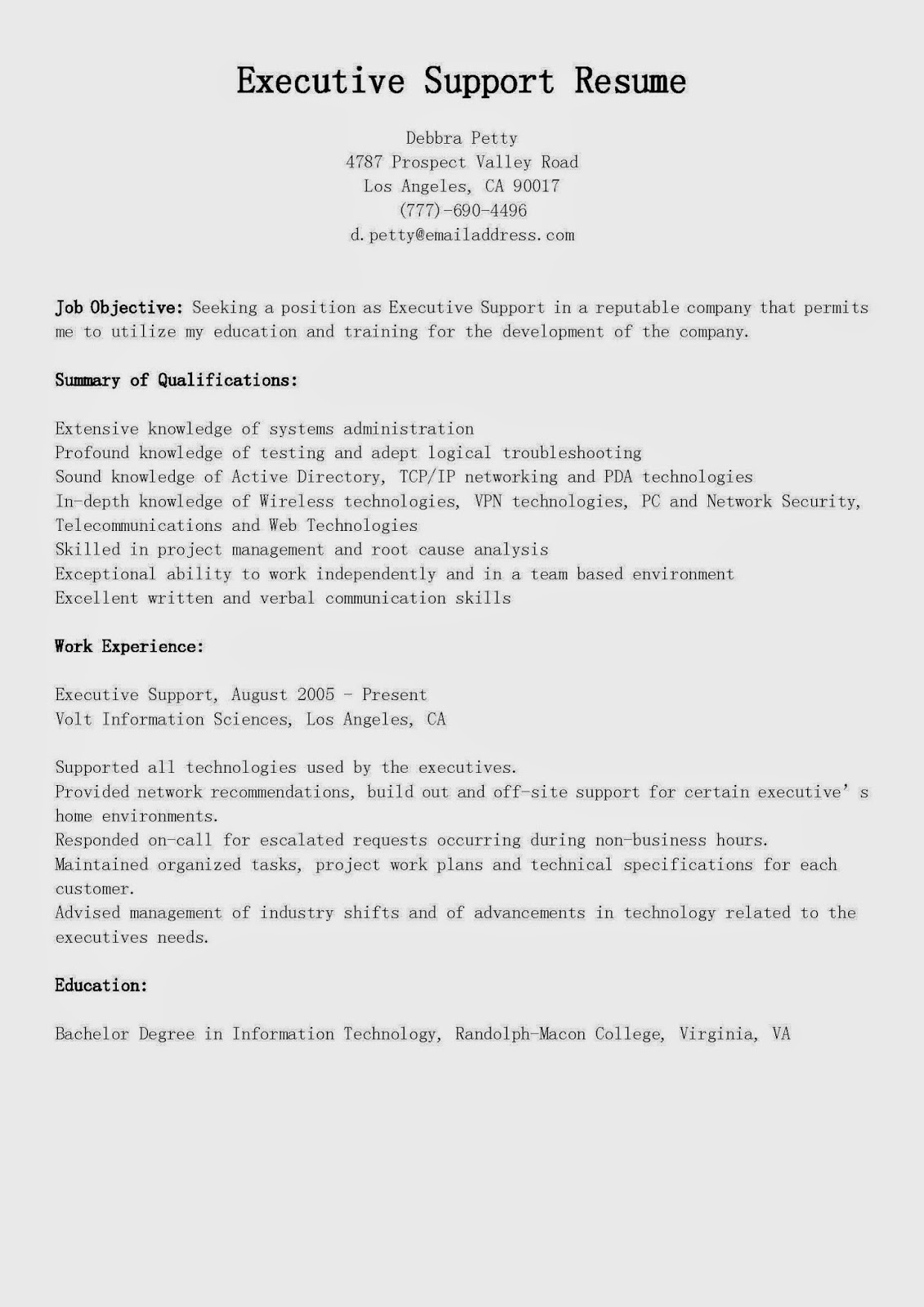 resume samples  executive support resume sample