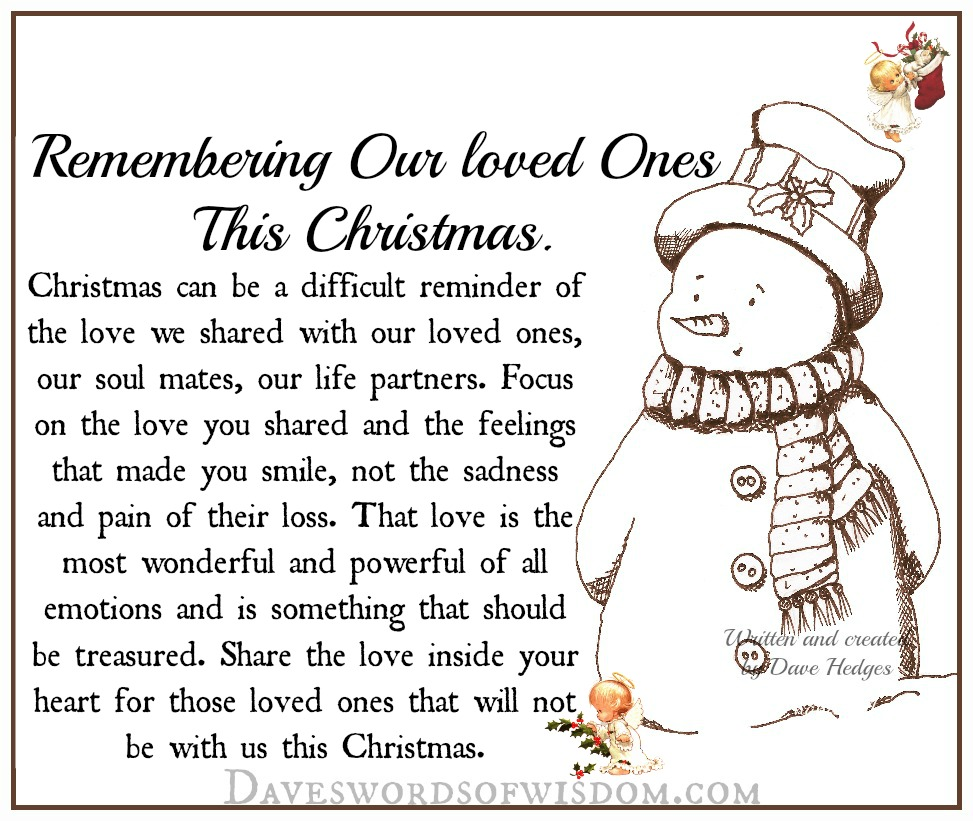 Lost Of Loved Ones Quotes Daveswordsofwisdom Remembering Our Loved Ones This Christmas.