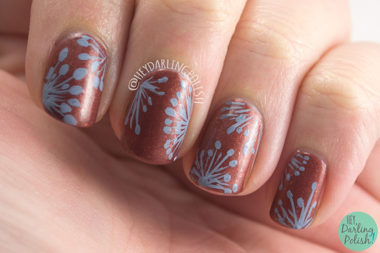 nails, nail art, nail polish, wallpaper, hey darling polish, copper, brown, floral, pattern