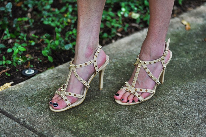 Forever21 studded nude heels