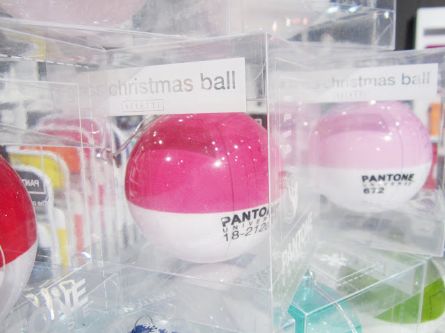 Close up of Pantone Christmas ornaments