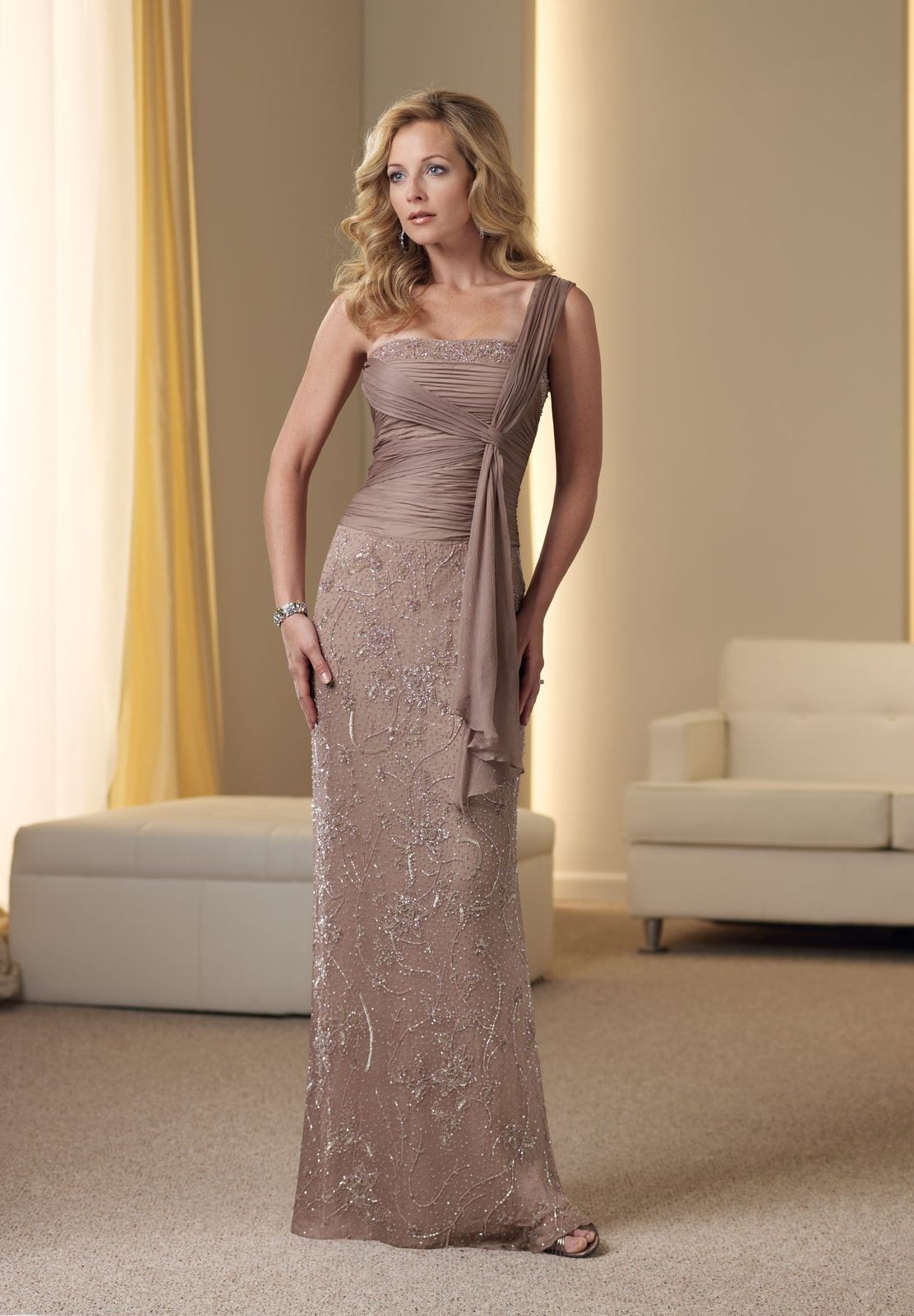 One Shoulder Mother Of The Bride Dress