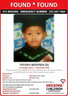 Bush Radio 89.5 fm Newsroom: Missing Child Found: Tiffany Booysen