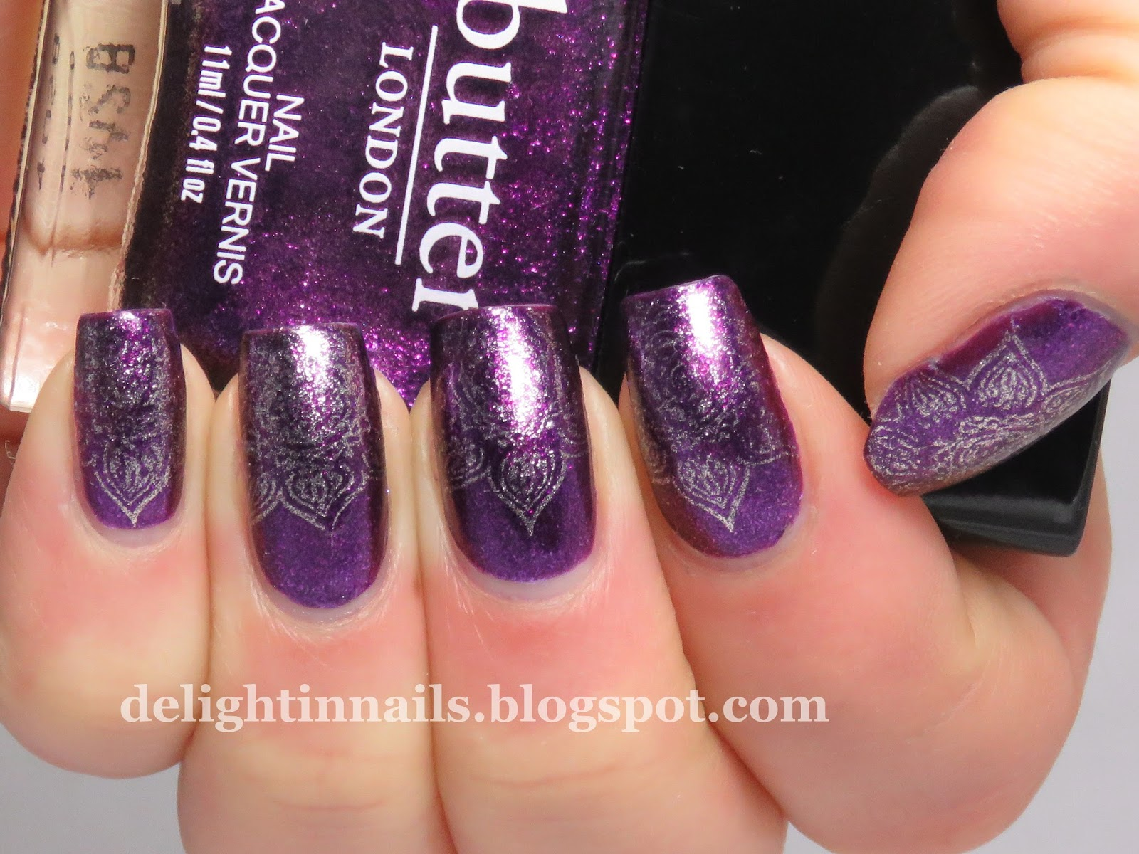 Delight In Nails Purple Gold Stamping