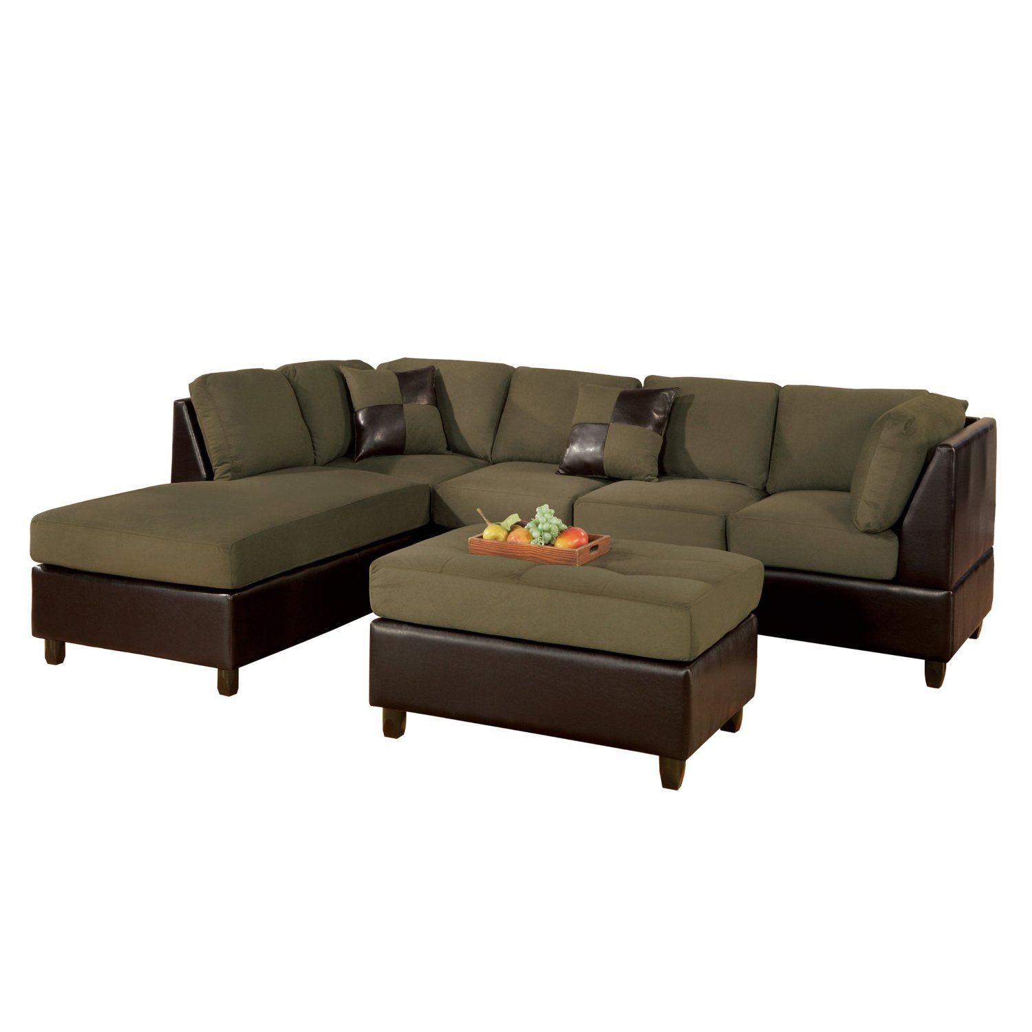 Sectional sofas for small spaces for Microfiber faux leather 3 piece sectional sofa set