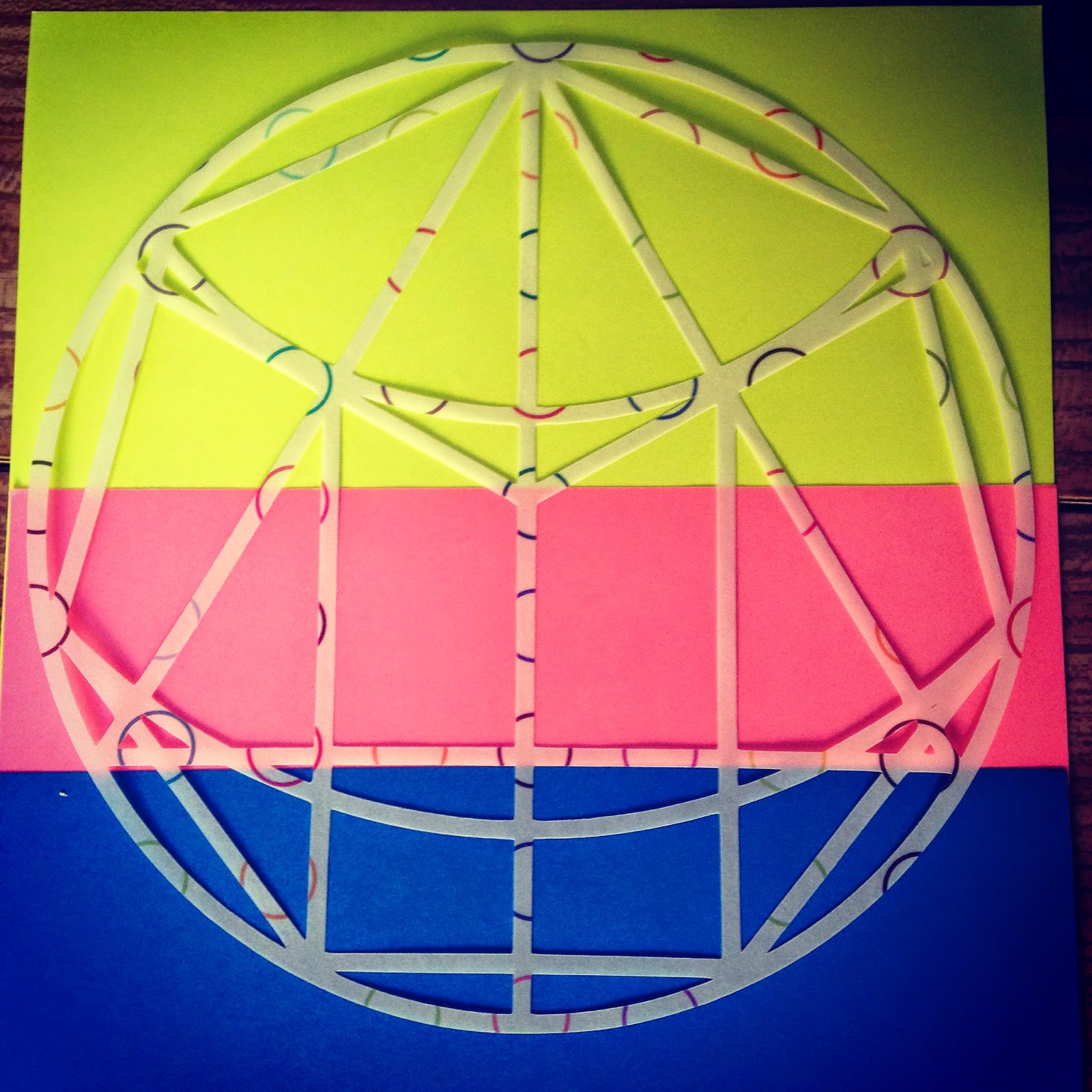 Tracing paper hexagon and coloured paper