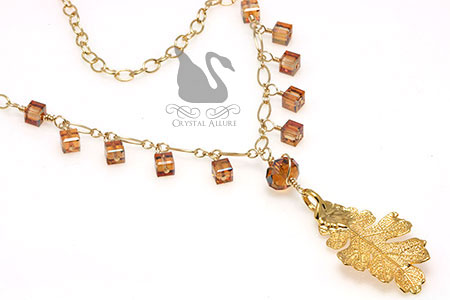 Aurora's Custom Real Oak Leaf Pendant Crystal Necklace (N034-II)
