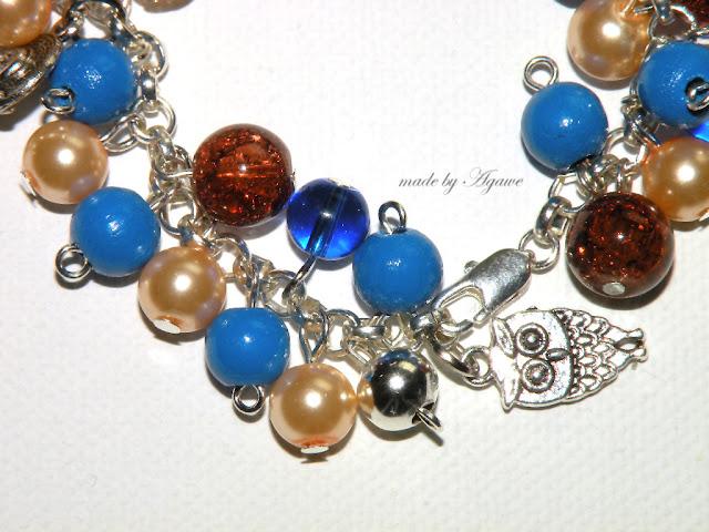 komplecik bransoletka + kolczyki niebiesko-brązowo-beżowy