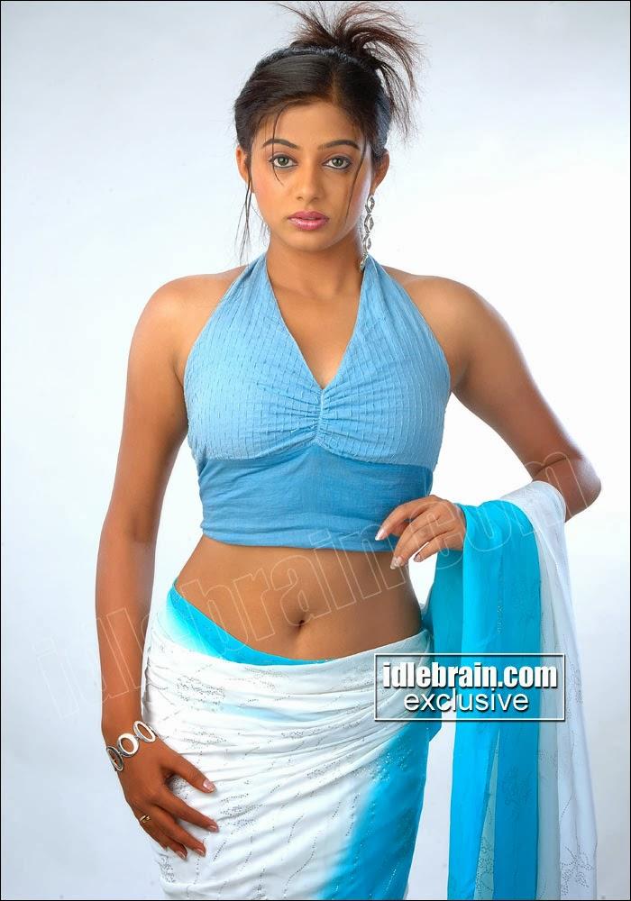Priyamani In Blue Saree Showing Her Sey Navel Stills Pics