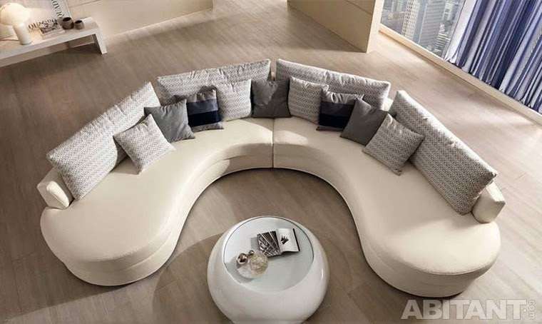 Round and curved sofa with original accent furniture Circular couches living room furniture